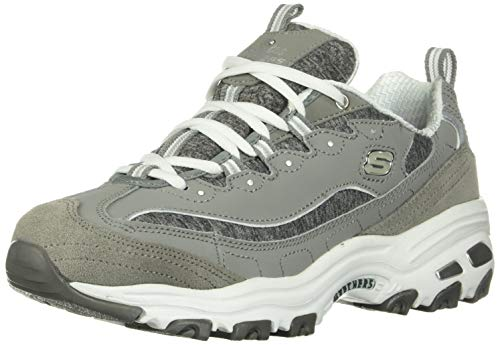 Skechers womens D'LITES ME TIME WIDE Memory Foam Lace-up Sneaker,Grey/White,8 W US