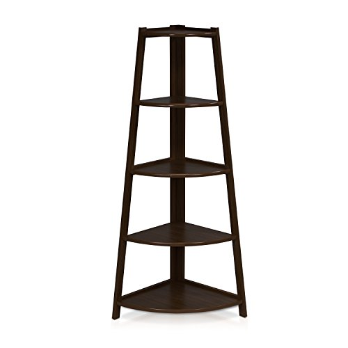 Corner Ladder Bookcase (Furinno FNAJ-11112-1 5-Tier Corner Ladder Garden Shelf, Espresso)