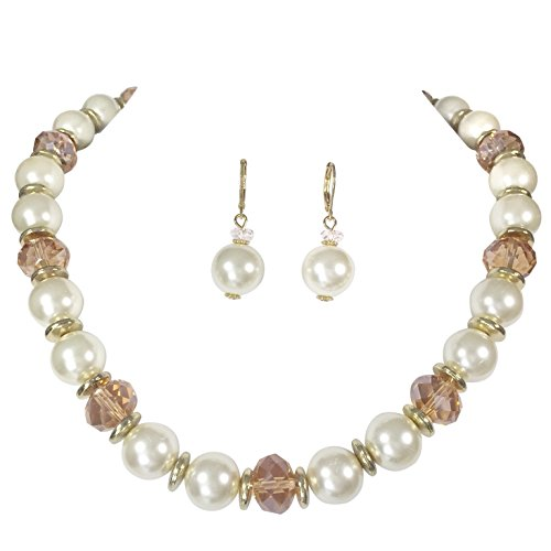 Single Round Ivory Pearl (Single Strand Glass Beaded Imitation Pearl Necklace Dangle Earrings Set (Ivory & Topaz Color))