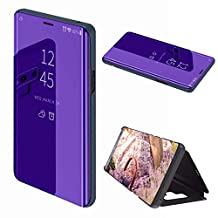 Luxury Mirror Smart Clear View Flip Case for Samsung Galaxy Note 9, MOIKY Translucent Plating PU Leather and Inner Hard PC Cover Ultra Slim Protective with Stand Function Case for Samsung Galaxy Note 9 - Dark purple