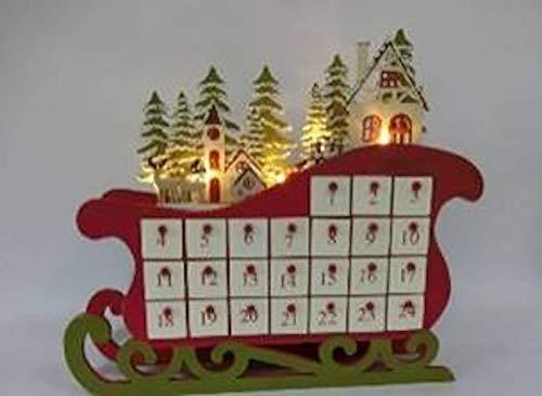 Option 2 Wood Sleigh Village Advent Calendar 15 15 A35413 Lights Up