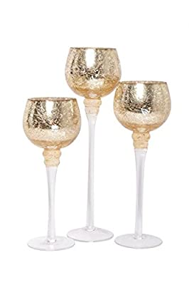 "Hosley Set of 3 Crackle Gold Glass Tealight Holders (9"", 10"", 12"" High)"