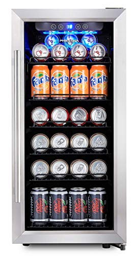 Center Solid Door Beverage (Phiestina PH-CBR100 106 Can Compressor Beverage Cooler Air-Cooled Refrigerator Stainless Steel & Glass Door with Handle)