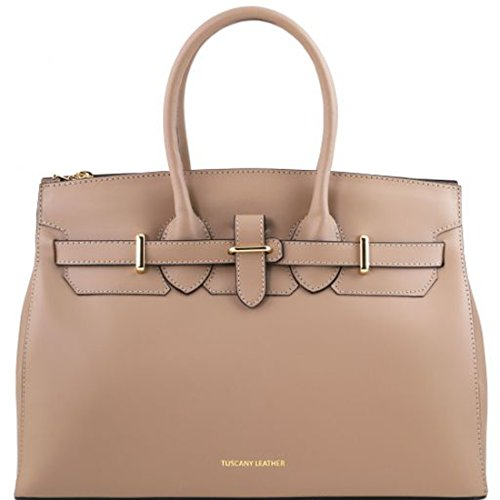 Tuscany Leather Elettra - Ruga leather handbag with golden hardware - TL141548 (Dark Taupe) by Tuscany Leather