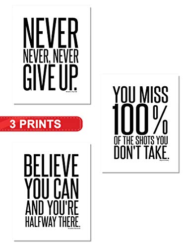 Inspirational Famous Quotes Home Wall Art Decor (3-Set) | 8x10 Unframed Prints | Great Black & White Motivational Poster Gifts for Teens, Entrepreneurs, Office, Classroom, Gym, Dorm (Believe You Can)