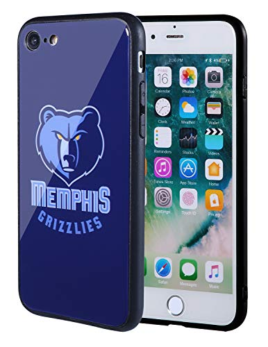 (The Mass iPhone 8 case, iPhone 7 case, NBA Team Logo on Tempered Glass Back Cover and Soft TPU Frame for Apple iPhone 8/7 (Memphis Grizzlies, 4.7 inch))