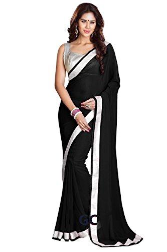 Chiffon Bollywood BellyDance Indian Saree Sari - SB Black by BombayFashions