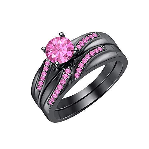 (tusakha 1.30CTW Pink Sapphire Wedding Band Engagement Ring Set Bridal Ring 14k Black Gold Over 925 Sterling Silver)