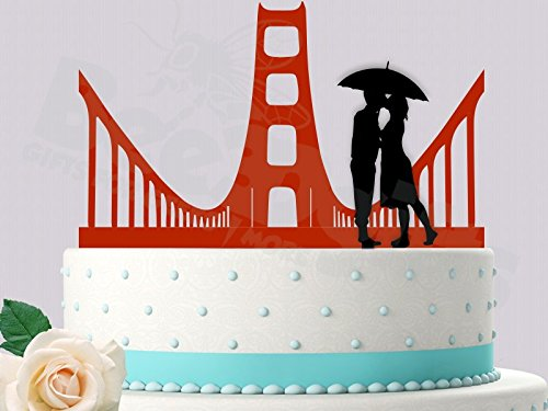 Golden Gate Love San Francisco Inspired Wedding Cake Topper