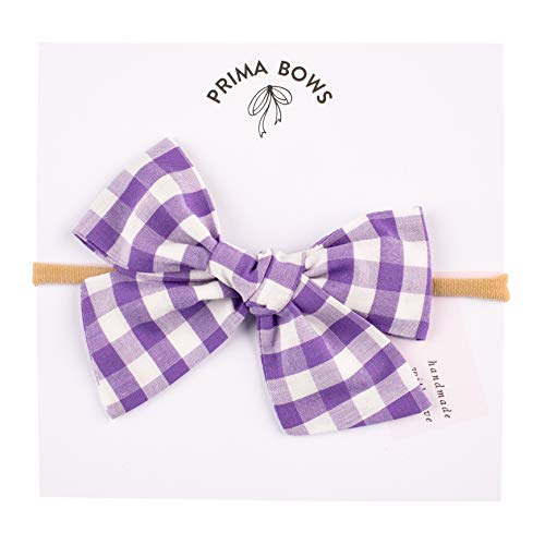 Handmade Purple Gingham Fabric Bow For Girls, For Newborns Through Toddlers (1 Size Fits All) - Prima Bows -