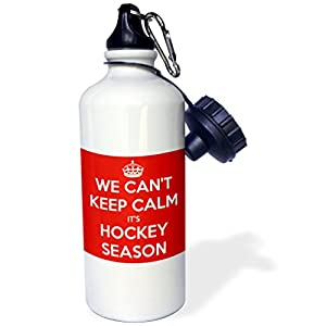 "3dRose wb_171922_1 ""We cant keep calm its hockey season, Red and White"" Sports Water Bottle, 21 oz, White"
