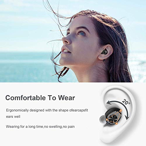 Trogonic TE1 Wireless Earbuds, Bluetooth 5.0 IPX5 Waterproof Ture Wireless Earbuds with Mic,MCsync Deep Bass in-Ear Headphones with Charging Case for Sport