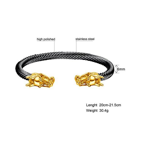 OSTAN Men's Double Head Dragon Bracelet Adjustable Stainless Steel Sliver Cuff Cool Polished