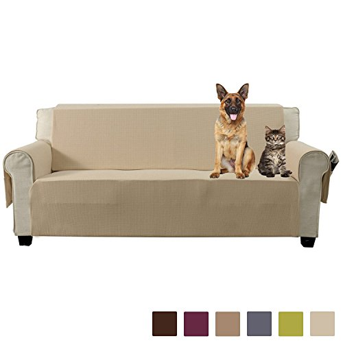 Aidear Anti-Slip Sofa Slipcovers Jacquard Fabric Pet Dog Couch Covers Protectors (Sofa, Beige) (Leather Beige For Sofa Sale)