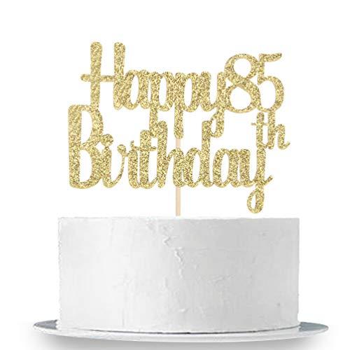 INNORU Happy 85th Birthday Cake Topper, Gold Glitter Birthday Party Cake Decorations -