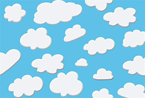 CSFOTO 7x5ft Children Birthday Backdrop Birthday Party Photography Background Baby Shower Backdrop Birthday Bash Cartoon Blue Sky and White Clouds Child Room Decor Kids Portrait Photo Studio Props