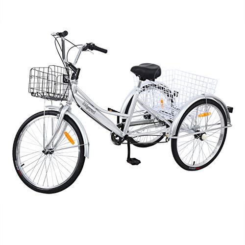 🥇 Yonntech Triciclo para Adultos 24″ 7 velocidades Bicicleta para Adultos Bicicleta 3 Ruedas Bicicleta Ciudad Bicicleta Mujer con Cesta