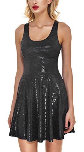 Reversible Skirt Spandex (Sexy Knee Length Reversible Shiny Mermaid Skater Dresses for Girls Black M)