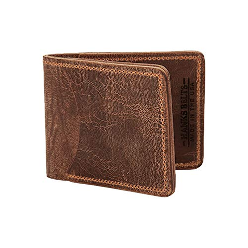 Hanks Tiny Leather Bi-Fold Wallet - SLIM - SIMPLE - INDESTRUCTIBLE - Multi Card Holder - USA MADE - Vintage Brown