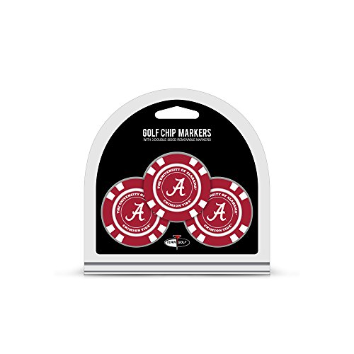 Team Golf NCAA Alabama Crimson Tide Golf Chip Ball Markers (3 Count), Poker Chip Size with Pop Out Smaller Double-Sided Enamel Markers