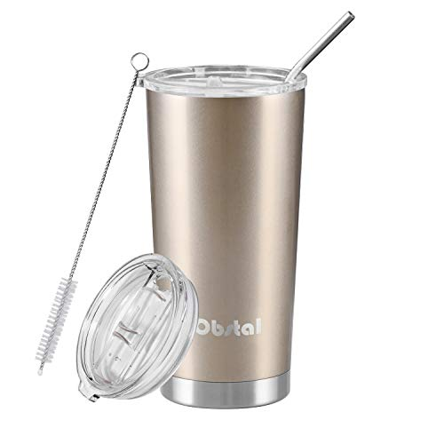 Obstal Stainless Steel Insulated Tumbler - Double Wall Vacuum Travel Mug for Coffee with Straw, Slider Lid, Cleaning Brush (20 oz, Champaign Gold)