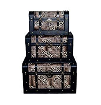 Set of 3 Animal Print Trunks