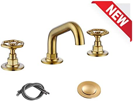 RKF Solid Brass Two Handle Widespread Bathroom Sink Faucet with Pop-up Drain with overflow and CUPC Faucet Supply Hoses,Brushed Gold,CWF026C-BG