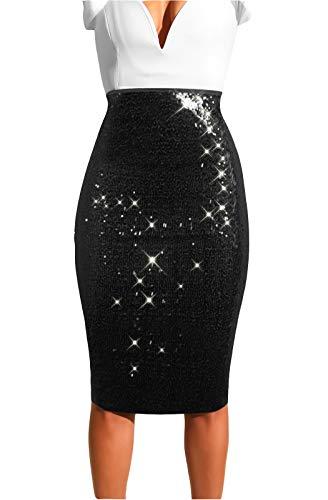 MarcoJudy Womens Rainbow Striped Tie Dye High Waist Bodycon Midi Pencil Skirt (Large, Sequin Black)]()
