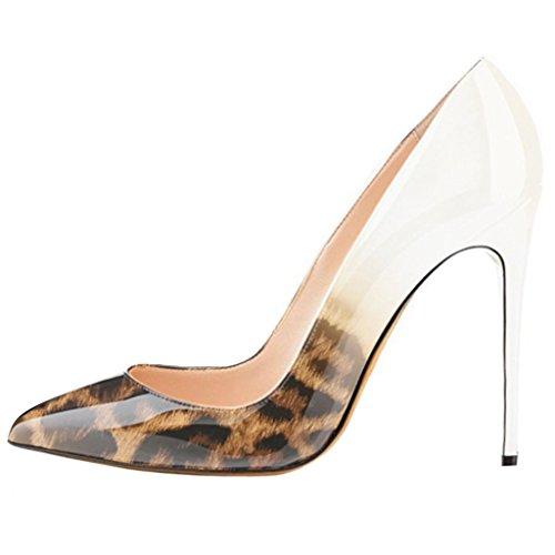MERUMOTE - tacón fino alto mujer White&Leopard