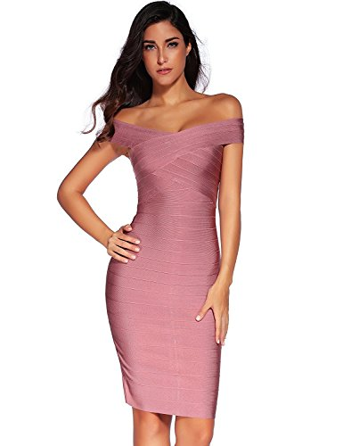 f-shoulder Stretchy Party Bandage Bodycon Midi Dress,Dark Pink,X-Small ()