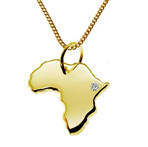 Endroit Exclusif Afrique Carte Pendentif avec brillant à votre Désir (Position au choix.)-avec Chaîne-massif Or jaune de 585or, artisanat Allemande-585de bijoux