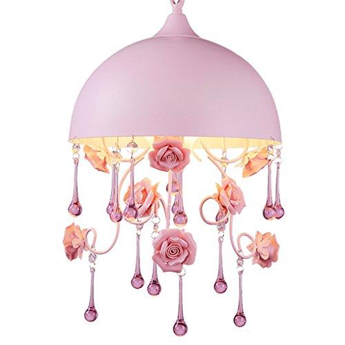 Mjd Chandelier Korean Princess Room Crystal Light Ceramic Rose Flower Girl Bedroom Lamp Round Single Head Pink Chandelier Lamp