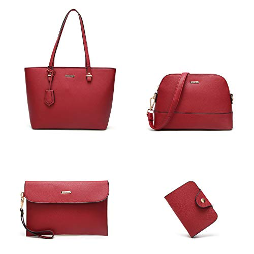 Purse Top Synthetic ELIMPAUL Holder Tote Red 4pc Bag Women Leather Bag Handbags Card Fashion Shoulder Set xAqFIq8