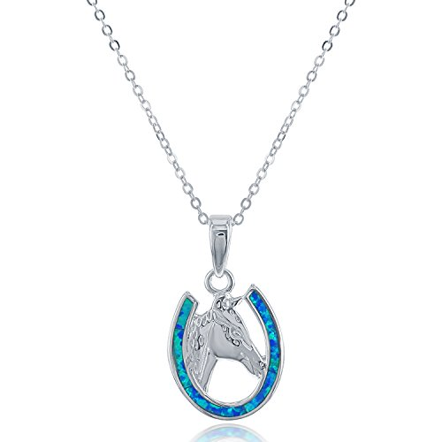 - Beaux Bijoux Sterling Silver Created Blue Opal Horseshoe & Horse Pendant with 18