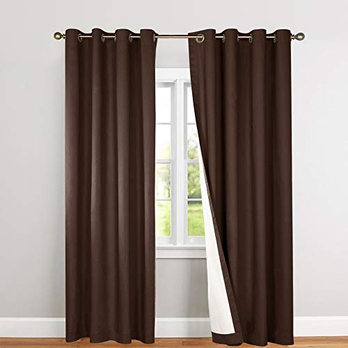 - jinchan Blackout Thermal Curtains 84 Inch, Lined Energy Efficient for Bedroom Window Curtain Living Room, Brown, Grommet Top, 2 pcs
