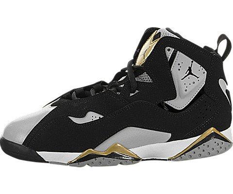 5ed619bcb440 Galleon - Jordan Kids True Flight BP Black Black Wolf Gry Mtlc Gold Size 13