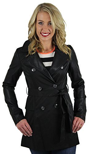 UPC 729391462685, Jessica Simpson Faux Leather Sleeve Trench Coat Jacket Black Size M