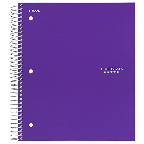"043100062080 - Five Star Spiral Notebook, 5 Subject, College Ruled Paper, 200 Sheets, 11"" x 8-1/2"", Color Will Vary (06208) carousel main 2"