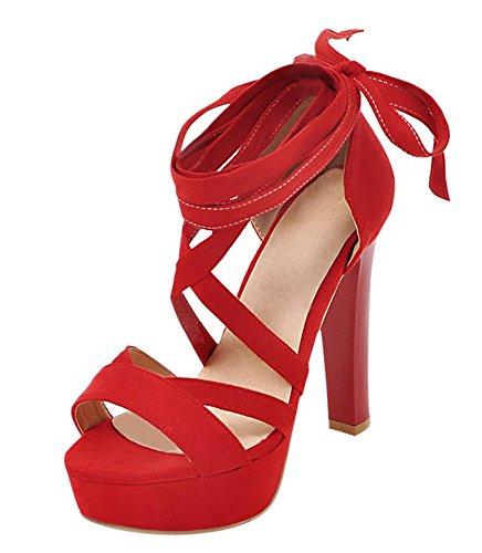 YE Damen High Heels Sandalen mit Schnürung Plateau Pumps Offen 12CM Absatz Sommer Abend Schuhe Rot