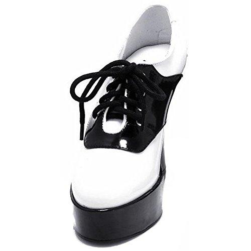 Ellie Shoes Womens 557-SADDLE Chunky Heel Saddle Shoe White/Black cmSmhBK2j