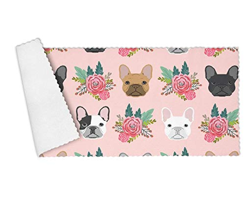 YUEch Kitchen Towels Set of 3 Pink French Bulldog Flowers Florals Highly Absorbent Low Lint Multi-Purpose Dish Towels, Tea Towels, Bar Towels 12 x 27 Inch