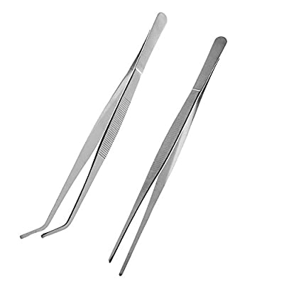 FABSELLER 2pcs Stainless Steel Straight and Curved Nippers Tweezers Fish Tank Aquatic Plant Forceps Clip Reptile Snakes Feeding Tongs