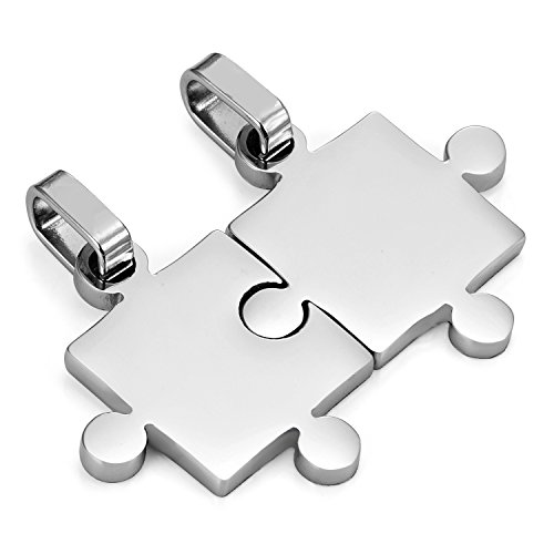 """His & Hers Puzzle Matching Piece Couples Pendant Necklace Set with 19"""" & 21"""