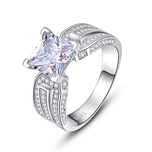 Merthus 925 Sterling Silver Comfort Fit Classic Wedding Band Engagement Ring for Women Simulated Diamond CZ Princess Cut Proposal Bridal Jewelry