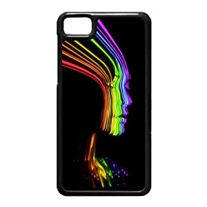 Black Berry Z10 Case,Face Shaped Rainbow Lines High Definition Wonderful Design Cover With Hign Quality Hard Plastic Protection Case