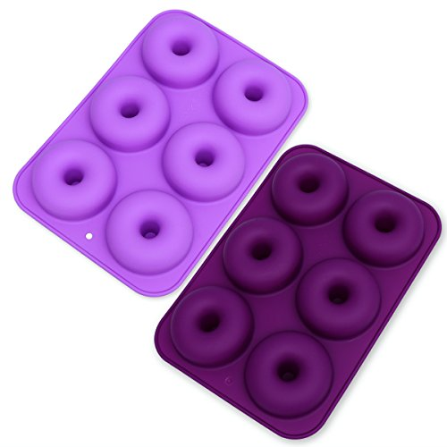 OUNONA 2pcs 6 Cavity Nonstick Donut Pans Silicone Baking Donut Mold Perfect Shaped Doughnuts Baking Tray Maker (Dark Purple and Light Purple) by OUNONA