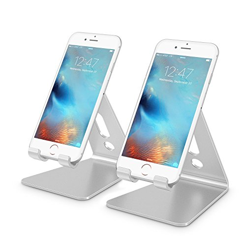 Cell Phone Stand, [2 Pack] OMOTON Desktop Cell Phone Stand Tablet Stand, Advanced 4mm Thickness Aluminum Stand Holder for Mobile Phone (All Size) and Tablet (Up to 10.1 inch), Silver by OMOTON
