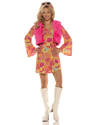 Women's Pretty in Pink 70's Costume - S
