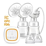 BAMMAX Double Electric Breast Pump, Portable Breast Pumps 4 Modes 16 Files USB Rechargeable Breast Feeding Pumps with LED Touch Screen Display, Memory Function, BPA-Free, FDA Certification