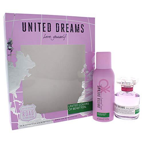 - United Dreams Love Yourself by United Colors of Benetton for Women 2 Piece Set Includes: 2.7 oz Eau de Toilette Spray + 5.1 oz Deodorant Spray
